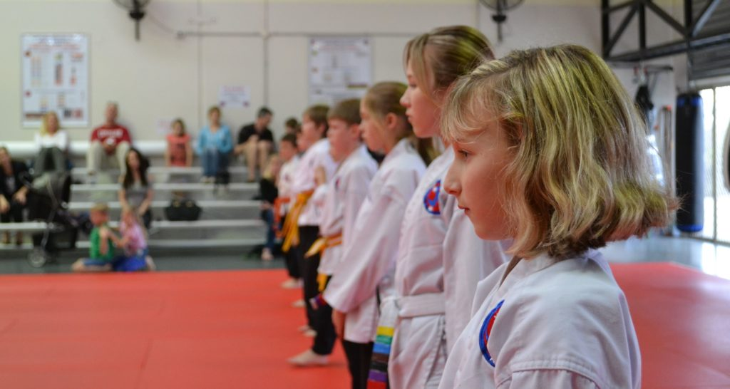 Red Dragons (8-12yo) lining up for class